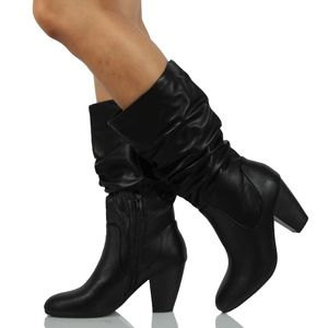 Shoes - Black Faux Leather Slouchy Mid Calf Stacked Heel